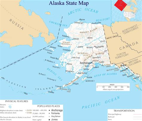 alaska state map  large detailed map  alaska state usa