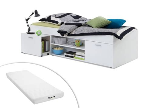 chambre ultra moderne lit avec rangements 90x200cm alora avec ou sans matelas