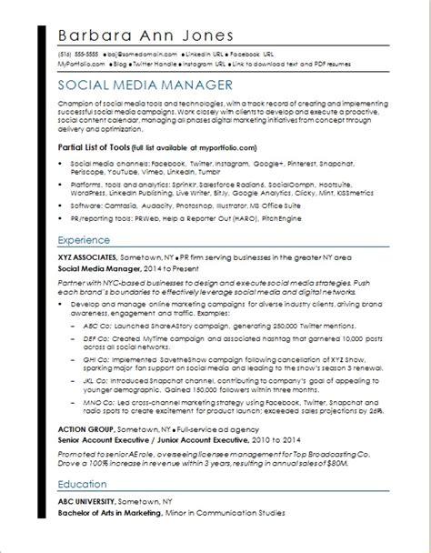 social media resume sle