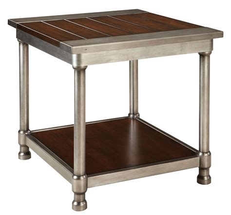 wood and metal end tables contemporary single shelf end table with plank style wood