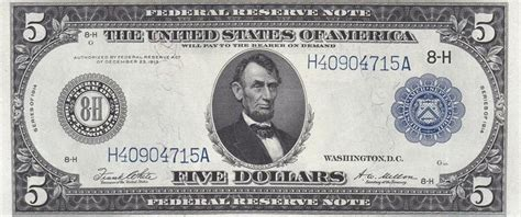 1914 federal reserve note st louis missouri 5 dollars