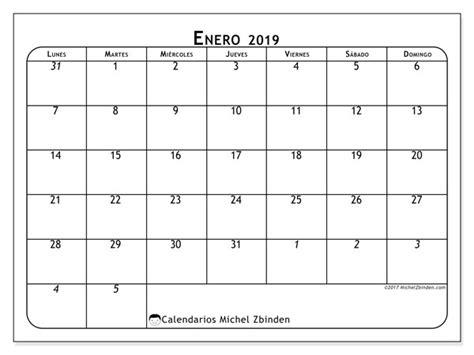 Calendario Enero 2019 (67ld)