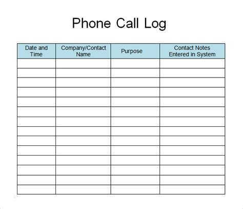 phone log template 13 sle call log templates pdf word excel pages sle templates