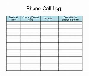 Sample call log template 11 free documents in pdf word for Call register template