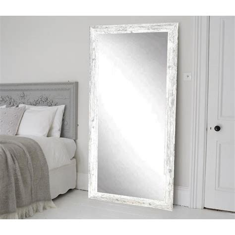 distressed white barnwood length floor wall mirror