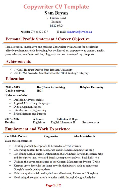 copywriter cv template