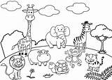 Zoo Coloring Pages Animal Cartoon Drawing Animals Children Six sketch template