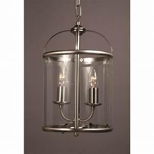 Small entrance hall light circular lantern in satin