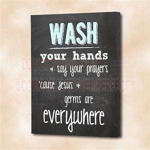 FRAMED CANVAS PRINT Wash your hands & say your prayers