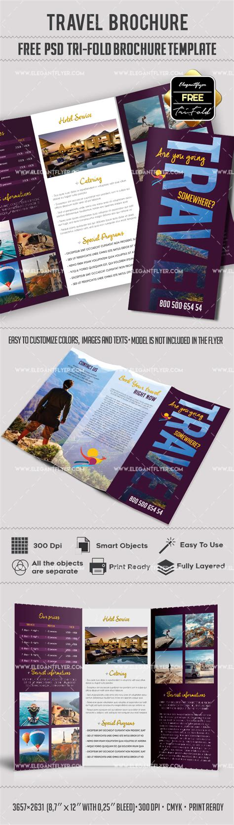 Tri Fold Brochure Templates Free By Elegantflyer Tri Fold Travel Brochure Template By Elegantflyer