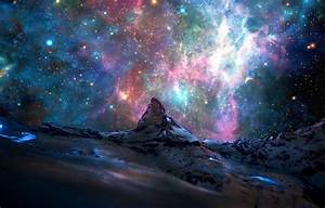 Wallpaper stars, space, Alps, nebula, mountains ...