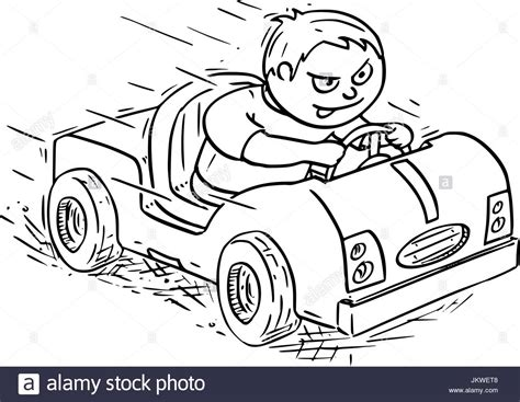 Hand Drawing Vector Cartoon Of A Boy Driving Pedal Or