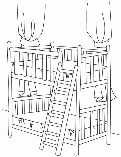 Coloring Bed Pages Bunk Beds Sheet Drawing
