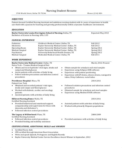 Current Nursing Student Resume by Sle Nursing Student Resume 8 Exles In Word Pdf