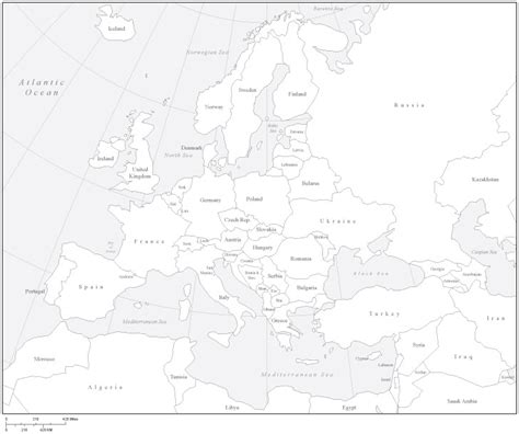 Black and White Europe Map Countries