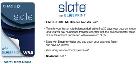 All you have to do is follow these simple steps — 1. No Balance Transfer Fee for New Chase Slate®SM Cardholders ...