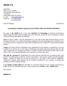 Exle Electrician Cover Letter by Cover Letter Of Electrical Engineer 42 Images