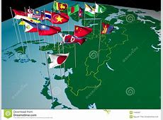 Asia Flags On Map Northeast View Stock Illustration