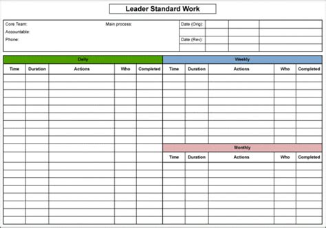 standard work excel template leader standard work template rachael edwards
