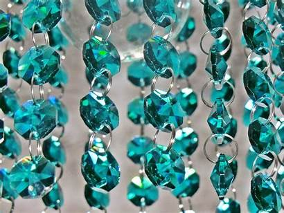 Chandelier Peacock Teal Crystals Beads Glass Cut