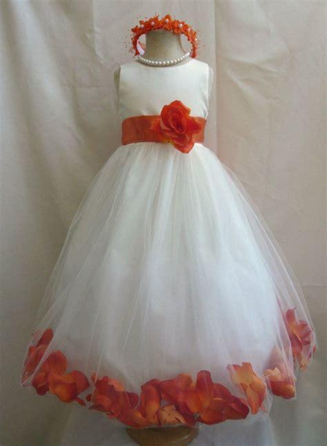 wedding flower girl dresses ivory  orange
