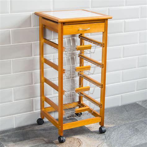 kitchen islands and trolleys tier kitchen trolley wood cart basket storage drawer tile 5245