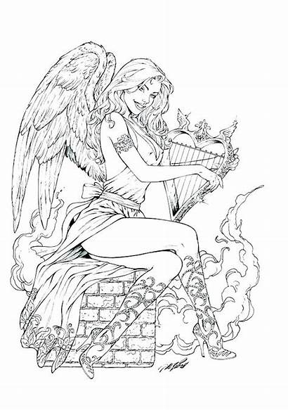 Coloring Pages Adult Printable Gothic Angel Fairy