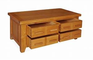 Canterbury oak storage coffee table with drawers for Coffee table with drawers and shelf