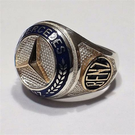 mercedes benz logo ring solid   sterling silver mens