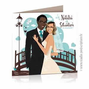 Dessin Couple Mariage Couleur : faire part de mariage original vintage romantique ~ Melissatoandfro.com Idées de Décoration