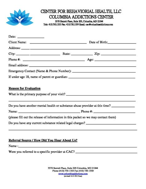 cac form   referral mental health assessment