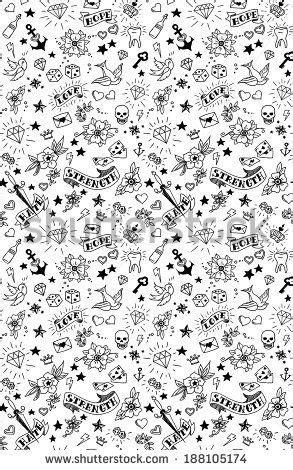 old school tattoos elements pattern, vector illustration | Dibujitos | Doodle tattoo, Tattoos