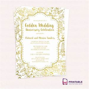 Golden wedding anniversary invitation template wedding for Samples of golden wedding invitations