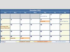 December 2022 Canada Calendar with Holidays for printing