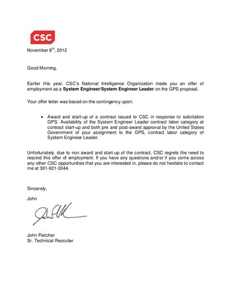 GPS Rescind offer letter