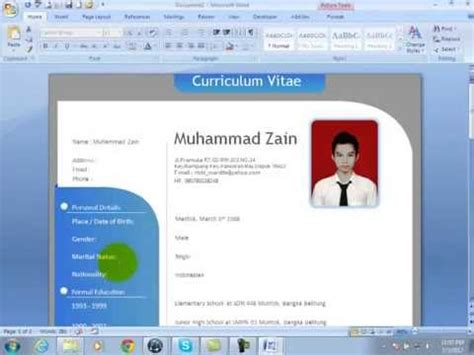how to make cv in micrisoft word 2007 and 2010 using