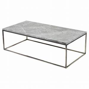 Wyatt industrial loft grey marble steel coffee table for Gray marble coffee table