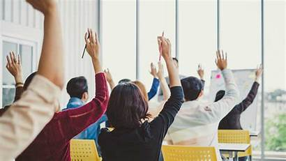 Raise Hands Business Meeting Agree Questions Training