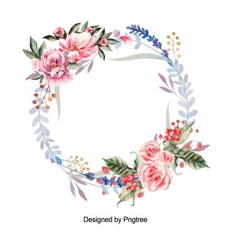 Hermosa Pintura Acuarela Corona Floral Flor Guirnalda