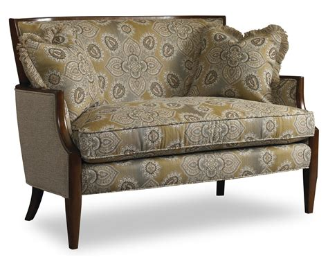 Settee With Arms by Contemporary Settee With Sloped Arms And Exposed Wood Trim