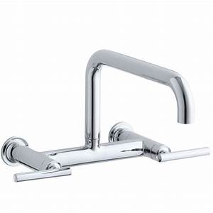 kohler purist two hole wall mount bridge kitchen sink With wall mount kitchen sink faucet