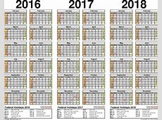 201620172018 calendar 4 threeyear printable PDF calendars