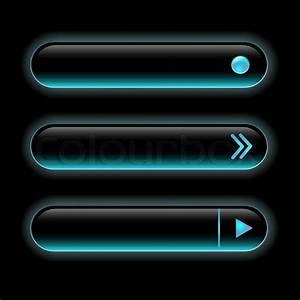 Website Black Buttons Bars Set Template  Vector Elements