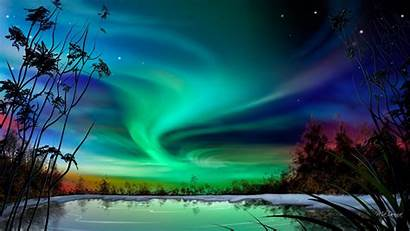 Aurora Borealis Beauty Trees Wallpapers Bank Lake