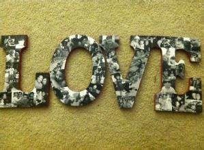 wood letters paint and then modge podge family pics