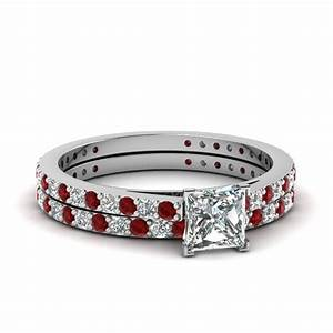 princess cut petite diamond wedding ring set with ruby in With diamond and ruby wedding ring sets