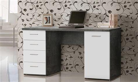 bureau basika bureau 1 porte 4 tiroirs johan béton blanc mat