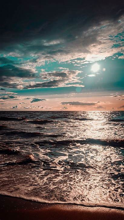 Ocean Sea Surf Clouds Galaxy Sunset Wave