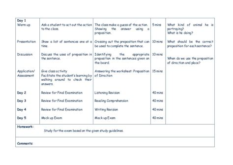 Learning Plan Grammar Prepositions, Listening, Reading And Writing