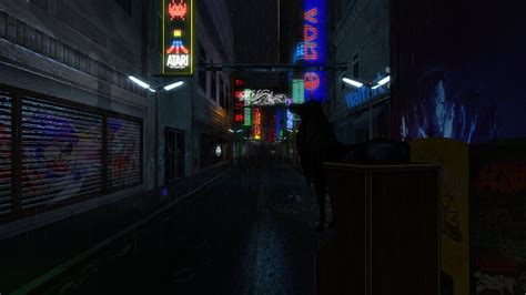 vortex cyberpunk street rain visit  location